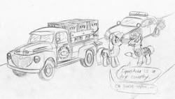 Size: 900x510 | Tagged: safe, artist:sketchywolf-13, applejack, oc, earth pony, pony, alcohol, car, clothes, cowboy hat, cutie mark, female, ford, ford crown victoria, hat, male, mare, monochrome, moonshine, pickup truck, police, police car, police officer, road, speech bubble, stallion, text, traditional art, vehicle