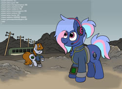 Size: 3136x2280 | Tagged: safe, artist:aaathebap, oc, oc only, oc:bit rate, oc:littlepip, earth pony, pony, unicorn, fallout equestria, cheater, cheating, chest fluff, clothes, earth pony oc, fallout, fanfic, fanfic art, female, funny, hack, hacker, hax, headset, hooves, horn, mare, meme, open mouth, pipbuck, ponyfest, ponyfest online, ponytail, smiling, stable-tec, standing, telephone pole, unicorn oc, vault suit, walking, wasteland