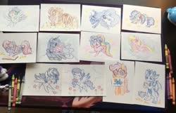 Size: 2048x1320 | Tagged: safe, artist:dawnfire, pinkie pie, princess luna, scootaloo, oc, alicorn, dragon, earth pony, monster pony, original species, pegasus, pony, spiderpony, unicorn, book, commission, crayon drawing, dragon oc, earth pony oc, female, horn, irl, lesbian, lunapie, pegasus oc, photo, shipping, traditional art, unicorn oc, wings