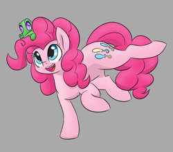 Size: 1200x1050 | Tagged: safe, artist:dendollae, gummy, pinkie pie, earth pony, pony, cute, dancing, diapinkes, duo, female, gray background, mare, open mouth, simple background, smiling