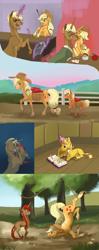 Size: 1652x4156 | Tagged: safe, artist:varwing, applejack, trenderhoof, oc, oc:ida red, oc:james, oc:pacifica rose, earth pony, pony, unicorn, apple, book, colt, female, filly, food, kissing, magic, male, offspring, parent:applejack, parent:trenderhoof, parents:trenderjack, pencil, prone, shipping, straight, trenderjack