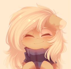 Size: 1039x1009 | Tagged: safe, artist:solnuh, oc, oc:mirta whoowlms, pony, bust, clothes, female, heartwarming, mare, messy mane, portrait, scarf, smiling, solo
