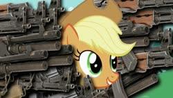 Size: 640x360 | Tagged: safe, applejack, aks-47, assault rifle, gun, gun maniac, rifle, weapon