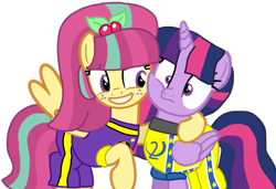 Size: 1392x952 | Tagged: safe, artist:徐詩珮, sour sweet, twilight sparkle, alicorn, pony, series:sprglitemplight diary, series:sprglitemplight life jacket days, series:springshadowdrops diary, series:springshadowdrops life jacket days, alternate universe, base used, basketball, chase (paw patrol), clothes, cute, equestria girls ponified, jersey, lesbian, paw patrol, ponified, shipping, simple background, sourlight, sports, transparent background, twilight sparkle (alicorn)