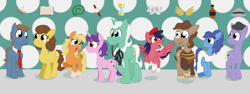 Size: 3200x1200 | Tagged: safe, artist:sixes&sevens, doctor whooves, pony, barbara wright, clothes, cutie mark, doctor who, dodo chaplet, first doctor, hat, ian chesterton, katarina, monocle, necktie, oliver harper, ponified, steven taylor, susan foreman, toga, vicki pallister