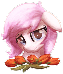 Size: 507x593 | Tagged: safe, artist:amura-of-jupiter, oc, oc only, oc:kayla, earth pony, pony, bust, female, flower, mare, simple background, solo, transparent background, tulip