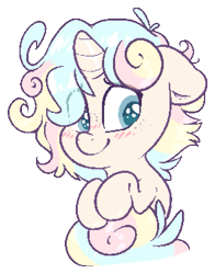 Size: 733x935 | Tagged: safe, artist:fluffyxai, oc, oc only, oc:opal shine, pony, unicorn, blushing, chibi, cute, pixel art, shy, simple background, smiling, solo, transparent background