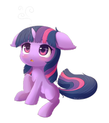 Size: 1200x1350 | Tagged: safe, artist:mochi2-arts, artist:symbianl, twilight sparkle, pony, unicorn, :<, blank flank, blushing, cheek fluff, chest fluff, cute, ear fluff, female, filly, filly twilight sparkle, floppy ears, leg fluff, magic, open mouth, simple background, sitting, solo, transparent background, twiabetes, unicorn twilight, weapons-grade cute, younger