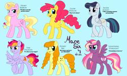 Size: 3594x2148 | Tagged: safe, artist:ali-selle, oc, oc only, oc:lightning starlight, alicorn, earth pony, pegasus, pony, unicorn, alternate mane six, blue background, design, group, multiple characters, simple background