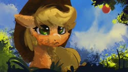 Size: 1920x1080 | Tagged: safe, artist:hierozaki, applejack, earth pony, pony, apple, bust, cloud, cowboy hat, dappled sunlight, female, food, hat, mare, portrait, sky, solo, tree