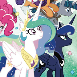 Size: 600x600 | Tagged: safe, idw, pinkie pie, princess celestia, princess luna, rarity, scootaloo, stygian, alicorn, earth pony, pegasus, unicorn, spoiler:comic88, comic, cover art, official comic, royal sisters