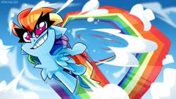 Size: 4096x2302 | Tagged: safe, artist:nekosnicker, rainbow dash, pegasus, pony, chest fluff, cloud, fast, female, flying, high res, mare, no pupils, rainbow trail, sky, smiling, solo