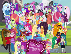 Size: 4032x3024 | Tagged: safe, artist:ktd1993, adagio dazzle, applejack, aria blaze, cloudy quartz, cup cake, dinky hooves, dj pon-3, fleur-de-lis, fluttershy, gloriosa daisy, juniper montage, lily longsocks, meadowbrook, octavia melody, pinkie pie, pixel pizazz, posey shy, princess cadance, princess celestia, principal abacus cinch, queen novo, rarity, saffron masala, scootaloo, sonata dusk, spoiled rich, starlight glimmer, stellar flare, sugar belle, sunset shimmer, sweetie belle, tree hugger, trixie, twilight velvet, victoria, vignette valencia, vinyl scratch, violet blurr, wallflower blush, windy whistles, oc, equestria girls, afro, arixie, blushing, cinchtoria, cloudyvelvet, dean cadance, equestria girls-ified, female, fleurdance, gloriette, infidelity, juniblush, kissing, lesbian, meadowshy, novolestia, oc x oc, pinata (ship), raffron, rarijack, ring, scootabelle, shipping, spoiledcake, starhugger, stellarbelle, sunsagio, windyshy