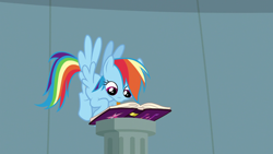 Size: 1920x1080 | Tagged: safe, screencap, rainbow dash, daring don't, season 4, cute, flying, friendship journal, mouth hold, solo, writing