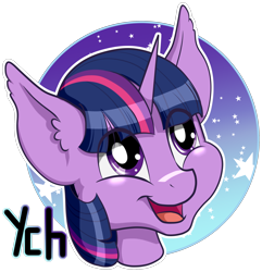 Size: 2264x2347 | Tagged: safe, artist:brightroom, twilight sparkle, alicorn, pony, avatar, commission, cute, icon, simple background, solo, transparent background, ych example, your character here