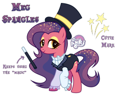 Size: 2510x1949 | Tagged: safe, artist:anri, oc, oc only, oc:meg spangles, earth pony, pony, clothes, coat, eyeshadow, female, hat, magic wand, magician, magician outfit, makeup, mare, multicolored hair, raised hoof, shirt, simple background, solo, top hat, transparent background