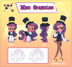 Size: 3248x3061 | Tagged: safe, artist:anri, oc, oc only, oc:meg spangles, earth pony, pony, equestria girls, bedroom eyes, clothes, coat, equestria girls-ified, eyeshadow, female, hat, high heels, magician, magician outfit, makeup, mare, multicolored hair, pantyhose, reference sheet, shirt, shoes, shorts, socks, solo, top hat