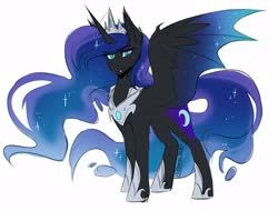 Size: 1250x950 | Tagged: safe, artist:its-gloomy, nightmare moon, alicorn, bat pony, bat pony alicorn, pony, bat wings, crown, fangs, female, horn, hybrid wings, jewelry, looking at you, mare, regalia, simple background, slit eyes, solo, white background, wings