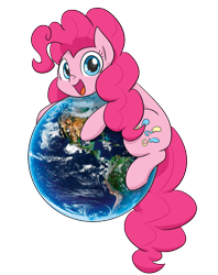 Size: 598x754 | Tagged: safe, artist:dendollae, pinkie pie, earth pony, pony, cute, diapinkes, earth, earth day, female, hug, looking at you, mare, open mouth, simple background, solo, transparent background