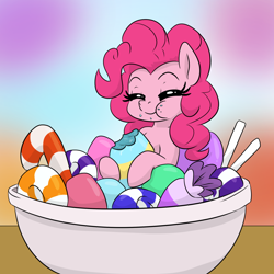 Size: 1050x1050 | Tagged: safe, artist:dendollae, pinkie pie, earth pony, pony, blurry background, bowl, candy, candy bowl, cute, diapinkes, eating, eyes closed, female, food, mare, ponies in food, solo
