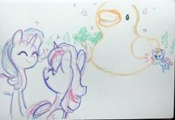 Size: 4032x2768 | Tagged: safe, artist:dawnfire, rarity, starlight glimmer, twilight sparkle, alicorn, pony, unicorn, crayon drawing, irl, photo, rubber duck, sketch, traditional art, twilight sparkle (alicorn), yelling