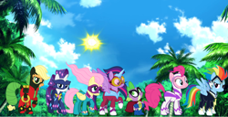 Size: 2532x1292 | Tagged: safe, artist:kayman13, applejack, fili-second, fluttershy, humdrum, masked matter-horn, mistress marevelous, pinkie pie, radiance, rainbow dash, rarity, saddle rager, spike, twilight sparkle, zapp, alicorn, pony, day, irl, jungle, looking at each other, looking at you, mane seven, mane six, photo, ponies in real life, power ponies, smiling, twilight sparkle (alicorn)