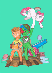 Size: 2058x2914 | Tagged: safe, artist:touki-san, cheese sandwich, pinkie pie, oc, oc:frost d. tart, alicorn, earth pony, pony, accordion, alicorn oc, balancing, balloon, bipedal, bowtie, clown nose, food, handstand, hat, horn, musical instrument, one eye closed, party cannon, party hat, pie, rainbow wig, traditional art, upside down, wings, wink