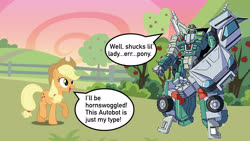 Size: 1920x1080 | Tagged: safe, artist:dashiesparkle, artist:estories, edit, vector edit, applejack, apple, apple tree, autobot, clash of hasbro's titans, crossover, destined to be friends, similarities, speech bubble, sweet apple acres, this fits, transformers, transformers robots in disguise (2001), tree, vector, x-brawn