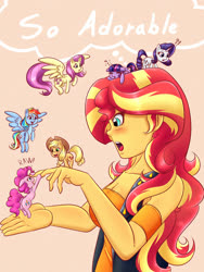 Size: 1500x2000 | Tagged: safe, artist:albertbm, applejack, fluttershy, pinkie pie, rainbow dash, rarity, sunset shimmer, twilight sparkle, alicorn, earth pony, pegasus, pony, unicorn, equestria girls, backwards letter, blushing, clothes, cute, exclamation point, female, floppy ears, flying, mane six, mare, micro, onomatopoeia, open mouth, profile, question mark, sleeping, sound effects, thought bubble, tiny, tiny ponies, twilight sparkle (alicorn), weapons-grade cute, zzz