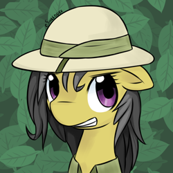 Size: 800x800 | Tagged: safe, artist:eshredder, daring do, pegasus, pony, bust, cute, daring dorable, female, green background, leaf, mare, portrait, simple background, smiling, solo