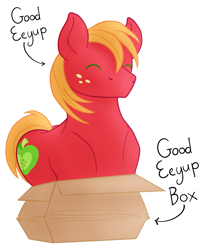 Size: 1825x2192   Tagged: safe, artist:sixes&sevens, big macintosh, pony, behaving like a cat, box, cardboard box, cute, eeyup, eyes closed, freckles, happy, if i fits i sits, macabetes, male, missing accessory, pony in a box, simple background, solo, stallion