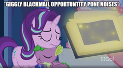 Size: 904x500 | Tagged: safe, edit, edited screencap, screencap, pinkie pie, spike, starlight glimmer, dragon, earth pony, pony, unicorn, cakes for the memories, spoiler:cakes for the memories, spoiler:mlp friendship is forever, blackmail, book, cake, cute, evil pinkie pie, female, food, glimmerbetes, leaning, male, meme, resting against each other, shipping, sleeping, sparlight, spikabetes, straight, text, text edit, twilight's castle, winged spike
