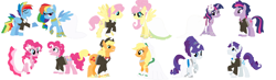 Size: 3024x880 | Tagged: safe, artist:aurora456, artist:selenaede, applejack, fluttershy, pinkie pie, rainbow dash, rarity, twilight sparkle, earth pony, pegasus, pony, unicorn, applejack (male), applejacks (shipping), base used, bubble berry, bubblepie, butterscotch, clothes, dashblitz, dress, dusk shine, dusktwi, elusive, female, flower, flutterscotch, hat, male, male six, mane six, mare, marriage, rainbow blitz, rarilusive, rule 63, self ponidox, selfcest, shipping, simple background, stallion, straight, tuxedo, unicorn twilight, wedding, wedding dress, white background
