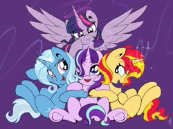 Size: 2048x1535 | Tagged: safe, artist:saralien, starlight glimmer, sunset shimmer, trixie, twilight sparkle, alicorn, pony, unicorn, chest fluff, counterparts, cute, female, hair over one eye, looking at you, magic, magical quartet, mare, one eye closed, open mouth, purple background, simple background, sitting, twilight sparkle (alicorn), twilight's counterparts