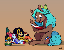 Size: 4478x3547 | Tagged: safe, artist:docwario, oc, oc only, oc:birdie, earth pony, pony, book, gradient background, high res, plushie, reading, solo, toy
