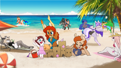 Size: 4877x2743 | Tagged: safe, artist:xxmarkingxx, oc, oc only, oc:athena fletcher ridgewell, oc:ember rose, oc:firelight, oc:haiyan erkore, oc:honeypot, oc:kaldra versvesh, oc:lady lovegreen, oc:lightning blast, oc:nikopol, oc:pandie, oc:rainy night, oc:rosie quartz, oc:static, anthro, deer, dracony, dragon, earth pony, fox, fox pony, hybrid, pegasus, pony, unguligrade anthro, unicorn, anthro oc, armpits, beach, bikini, breasts, butt, clothes, commission, deer oc, digital art, dragon oc, earth pony oc, female, filly, gift art, hat, horn, male, mare, one-piece swimsuit, palm tree, pegasus oc, sandcastle, smiling, splash, splashing, sports, stallion, swimming trunks, swimsuit, topless, tree, unicorn oc, volleyball, volleyball net, water, wings