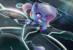 Size: 4000x2750   Tagged: safe, artist:ardail, oc, oc only, oc:bit rate, semi-anthro, angry, identity disk, tron, tron legacy