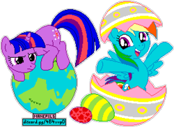 Size: 1148x836 | Tagged: safe, artist:dentist73548, artist:luckreza8, editor:cocoa bittersweet, rainbow dash, twilight sparkle, pegasus, pony, unicorn, secret of my excess, crouching, cutie mark, duo, duo female, easter, easter egg, female, frown, glare, globe, heart, holiday, manepxls, mare, open mouth, pixel art, planet, pxls.space, raised hoof, simple background, spread arms, tangible heavenly object, transparent background, unicorn twilight
