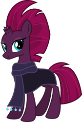 Size: 4000x5956 | Tagged: safe, alternate version, artist:melisareb, fizzlepop berrytwist, tempest shadow, pony, unicorn, my little pony: the movie, .svg available, absurd resolution, cloak, clothes, female, inkscape, looking at you, mare, scarf, show accurate, simple background, solo, transparent background, vector