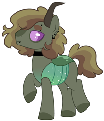 Size: 2484x2904 | Tagged: safe, artist:kurosawakuro, oc, changepony, hybrid, base used, ear piercing, earring, eyebrow piercing, interspecies offspring, jewelry, male, offspring, parent:applejack, parent:thorax, piercing, simple background, snake bites, solo, transparent background