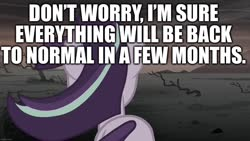 Size: 1280x720 | Tagged: safe, edit, edited screencap, editor:useraccount, screencap, starlight glimmer, the cutie re-mark, alternate timeline, ashlands timeline, barren, caption, coronavirus, covid-19, delusional, graveyard of comments, image macro, implied genocide, optimism, post-apocalyptic, ruins, s5 starlight, sad, text, wasteland
