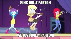 Size: 888x499 | Tagged: safe, edit, edited screencap, screencap, blueberry pie, derpy hooves, raspberry fluff, equestria girls, rainbow rocks, caption, dolly parton, image macro, impact font, microphone, saw, text, the muffins, triangle, under our spell, vj emmie, wakaliwood, who killed captain alex