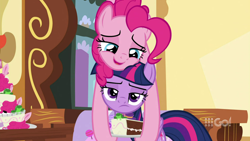 Size: 1280x720   Tagged: safe, screencap, pinkie pie, twilight sparkle, alicorn, earth pony, cakes for the memories, spoiler:cakes for the memories, spoiler:mlp friendship is forever, bedroom eyes, blue eyes, cake, cute, female, food, lying on top of someone, pinkie being pinkie, plate, purple eyes, smiling, sugarcube corner, twilight is not amused, twilight sparkle (alicorn), unamused