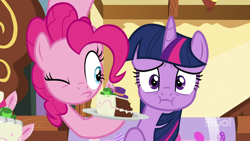 Size: 1280x720 | Tagged: safe, screencap, pinkie pie, twilight sparkle, alicorn, earth pony, cakes for the memories, spoiler:cakes for the memories, spoiler:mlp friendship is forever, 9go, cake, food, looking at someone, one eye closed, pinkie being pinkie, pinkie physics, plate, pouty lips, sugarcube corner, twilight sparkle (alicorn), worried