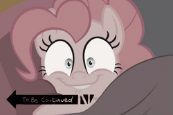 Size: 757x502 | Tagged: safe, edit, edited screencap, screencap, pinkie pie, cakes for the memories, spoiler:cakes for the memories, spoiler:mlp friendship is forever, bed, i came, lip bite, looking at you, sepia, to be continued, to be continued (meme)