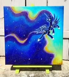 Size: 1024x1141 | Tagged: safe, artist:colorsceempainting, princess luna, alicorn, pony, acrylic painting, female, flying, jewelry, mare, photo, regalia, solo, traditional art