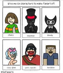 Size: 760x889 | Tagged: safe, artist:werblyis1, cozy glow, human, pegasus, pony, six fanarts, bendy and the ink machine, black hat (villainous), bow, chara, crossover, female, filly, hair bow, hat, herobrine, minecraft, smiling, team fortress 2, top hat, undertale, villainous