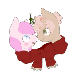 Size: 4000x4000 | Tagged: artist needed, safe, oc, oc only, oc:kayla, oc:mary jane, earth pony, pegasus, pony, blushing, boop, clothes, duo, female, hair bun, lesbian, love, mare, mistletoe, noseboop, oc x oc, scarf, shared clothing, shared scarf, shipping, simple background, transparent background