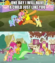Size: 500x562 | Tagged: safe, edit, edited screencap, screencap, cheese sandwich, gummy, kettle corn, li'l cheese, luster dawn, pinkie pie, pound cake, pumpkin cake, earth pony, pegasus, pony, unicorn, the last problem, caption, comic, image macro, screencap comic, text