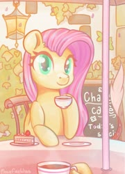Size: 1369x1898 | Tagged: safe, artist:musicfirewind, fluttershy, cafe, cake, coffee, coffee cup, cup, food, implied discord, looking at you, solo, solo focus